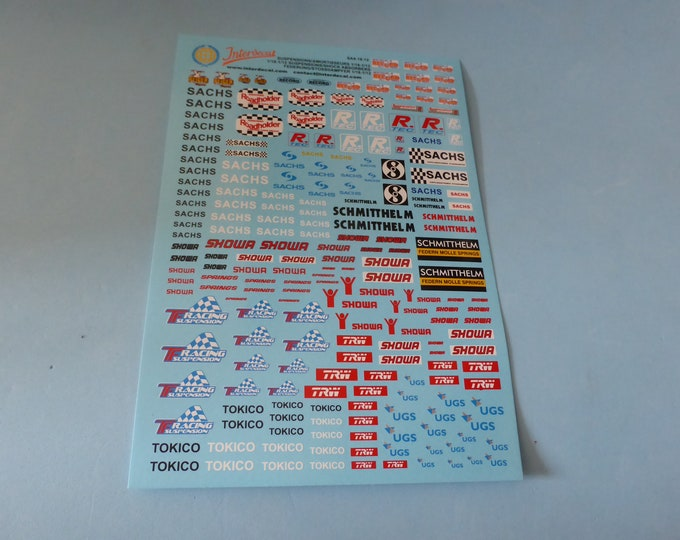 1:18 decals for springs and shock absorbers logos and scripts Tin Wizard SA4-18-12