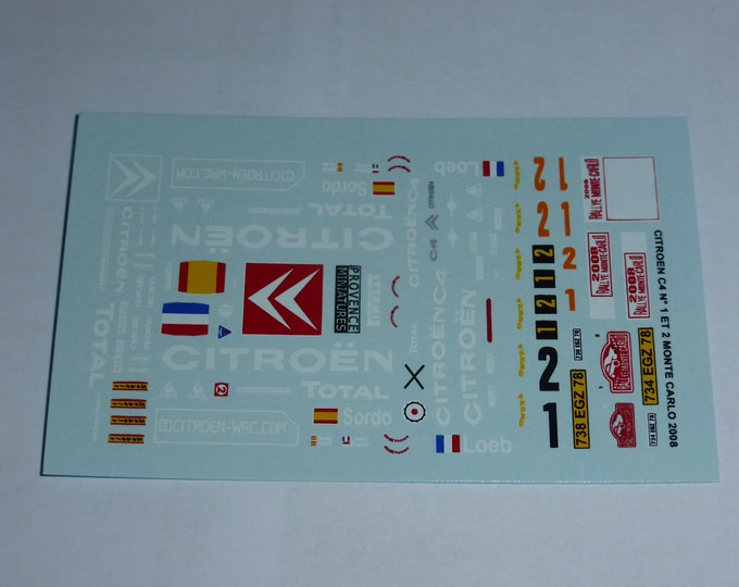 1:43 decals for Citroen C4 WRC works car Monte Carlo 2008 #1/2 Loeb or Pons Provence Miniatures