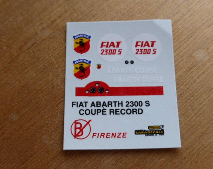 high quality 1:43 decals Fiat 2300S Coupé Abarth Corse Record car 1963