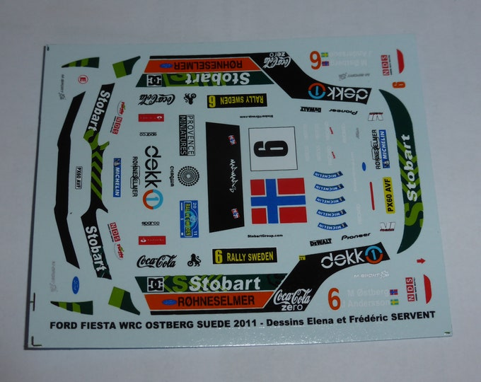 1:43 decals for Ford Fiesta WRC Stobart Rally Sweden 2011 #6 Ostberg Provence Miniatures