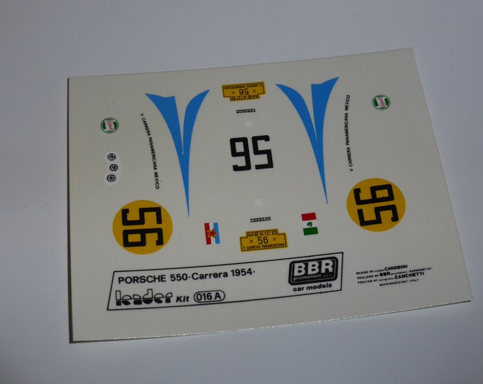 high quality 1:43 decals Porsche 550 Carrera Panamericana 1954 #56 Leader-BBR #016A
