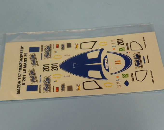 1:43 decals for Mazda 767B GTP Mazdaspeed Le Mans 1989 #201 Kennedy/Dieudonné/Hodgetts