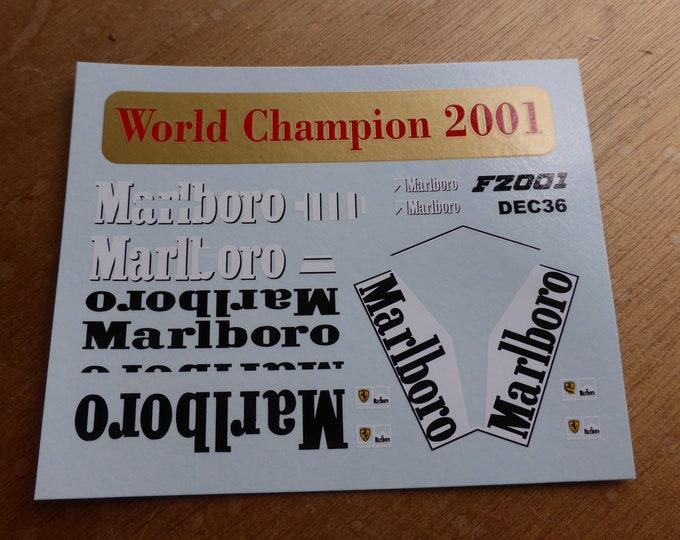 high quality BBR decals Marlboro scripts for Ferrari F1-2001 Formula 1 2001 Michael Schumacher and Rubens Barrichello for Tamiya 1:20 model