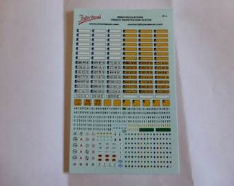 decals for registration plaques France (contemporary plus special symbols) 1:43 scale Interdecal PI2