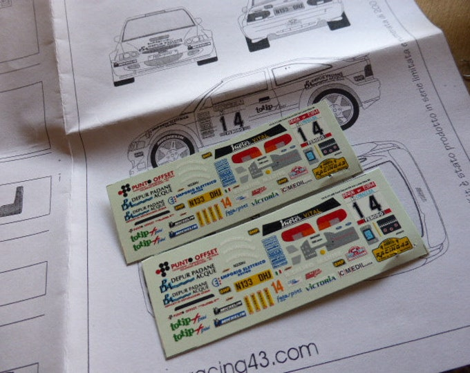 high quality 1:43 decals sheet for Ford Escort Cosworth Kit car Evo2 Rally Elba 1999 Luise RACING43 S111.200