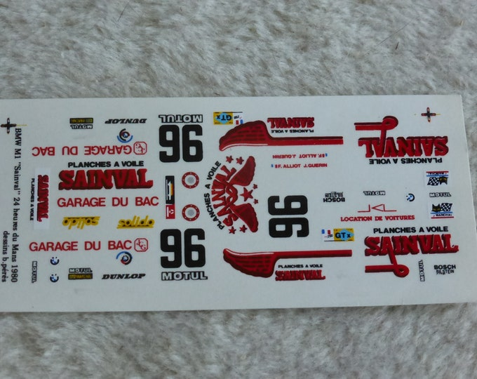 1:43 decals for BMW M1 IMSA-Gtx Sainval Le Mans 1980 #96 Alliot/Guerin Record
