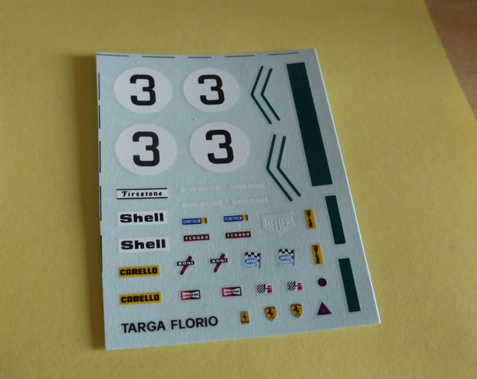 1:43 decals sheet for Ferrari 312 PB Targa Florio 1972 winner Munari/Merzario Tameo