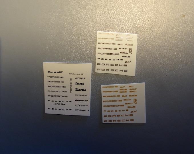 high quality identification decals 1:43 for Porsche models black/chromed/gold edo3000v6 ED-011