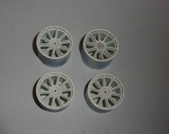 Set of 1:18 10-spokes wheels for racing and sport cars high definition (white)