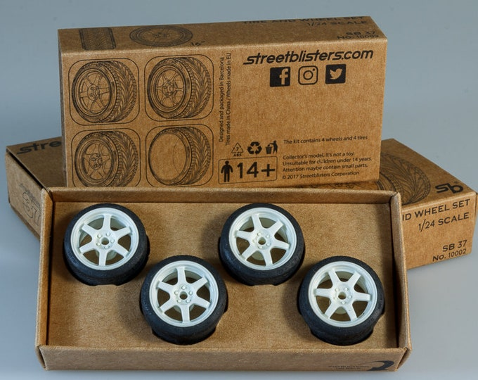 pack of 6-spokes sports 16-inches rims with tires and decals for touring and small GT cars 1:24 Streetblisters 10002