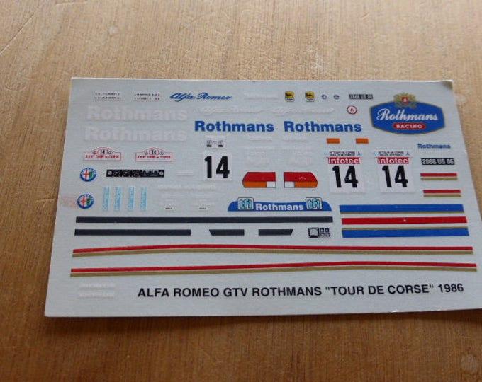 high quality 1:43 decals Alfa Romeo Alfetta GTV6 Gr.A Rothmans Tour de Corse 1986 Loubet
