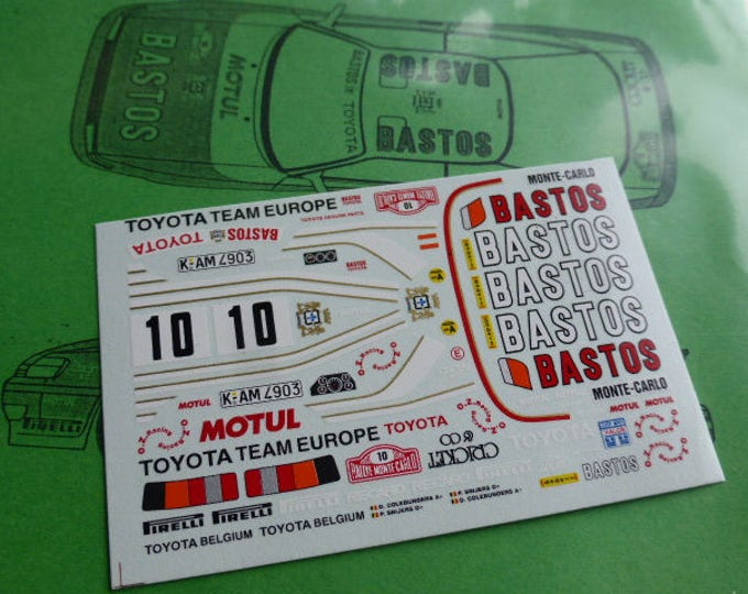 high quality 1:43 decals sheet for Toyota Celica GT4 TTE-Bastos Rally Montecarlo 1989 Snijers RACING43 RD11