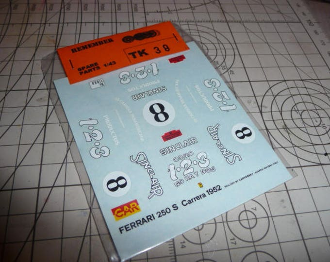 high quality 1:43 decals Ferrari 250S Carrera Panamericana 1952 #8 Remember TK38