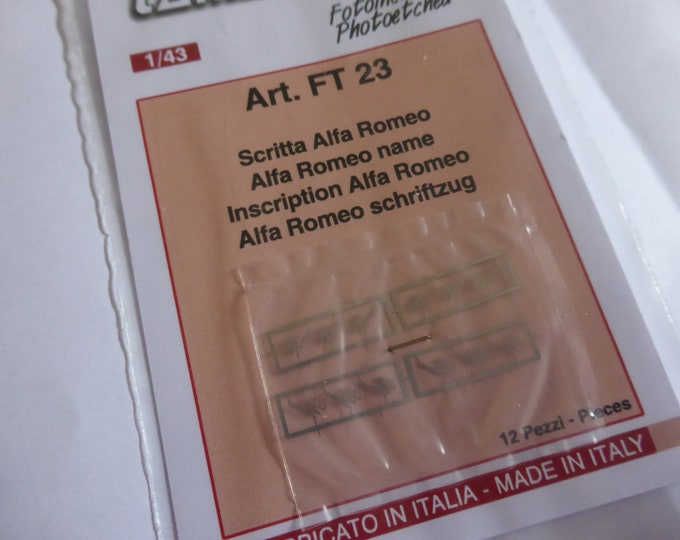 photo etched 1:43 Alfa Romeo scripts 40-50s (pack of 12 pcs.) Tameo FT23