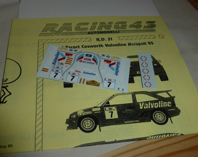 high quality 1:43 decals sheet for Ford Escort Cosworth RS Valvoline Rally Akropolis 1995 #7 RACING43 RD21