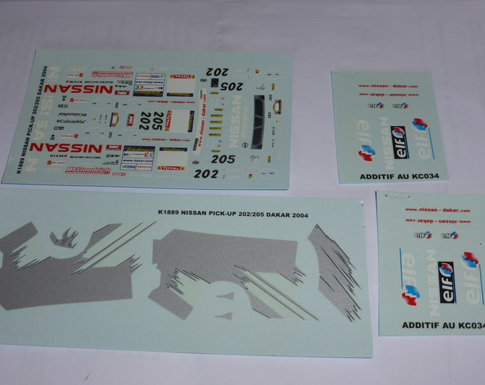 1:43 decals for Nissan PickUp Dakar 2004 #202/205 Provence Miniatures
