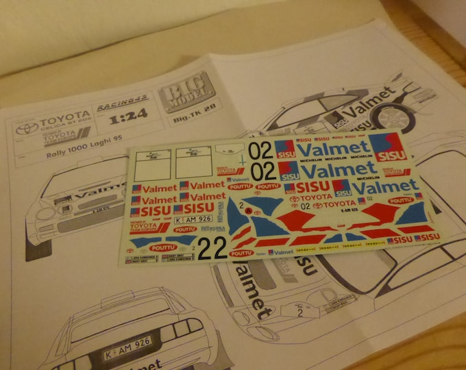 high quality 1:24 decals sheet for Toyota Celica ST205 Valmet 1000 Lakes Rally 1995 Kankkunen Racing43 BIG-TK28