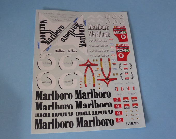 1:18 complementary decals for Ferrari F2002 Formula 1 2002 Schumacher and Barrichello for diecast and special models