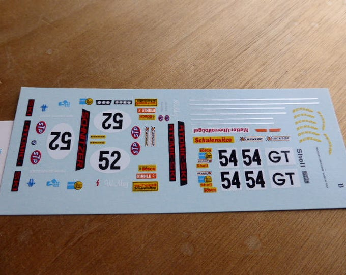 high quality 1:43 decals BMW 2002 Gr2 Atomic Ski + other Porsche, DRM logos Madyero by Remember TK118