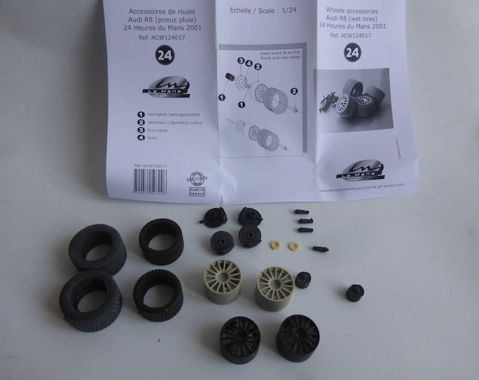 1:24 wheels, disc brakes and rain tires for Audi R8 and other LMP1 and GT cars Le Mans Miniatures ACW124017