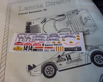 high quality 1:43 decals sheet for Lancia Stratos Gr.4 Camel Rally Sanremo 1978 #14 Vudafieri/Mannini RACING43 RD14