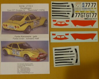 decals for Opel GT 1900 Gr.4 Steinmetz #77 1000km Nurburgring 1972 Christmann/Ragnotti 1:18 scale Tin Wizard Z116-3 for Minichamps etc.
