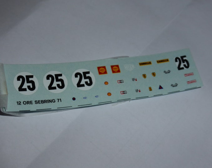 1:43 decals sheet for Ferrari 312 PB 12 hours Sebring 1971 #25 Tameo TMK147