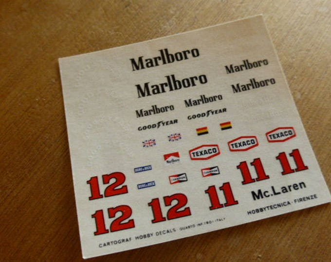high quality 1:43 decals McLaren - Ford M23 Formula 1 1976 James Hunt and Jochen Mass Cartograf production