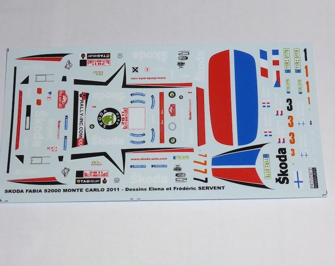 1:43 decals for Skoda Fabia S2000 Rally Monte Carlo 2011 #1/3/7 Vouilloz/Kopecki/Hanninen Provence Miniatures