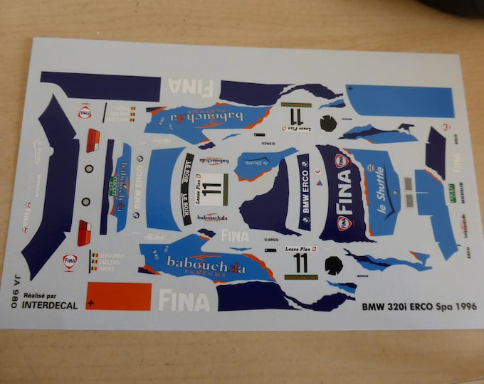high quality 1:43 decals BMW 320i ERCO 24h Spa 1996 #11 Defourny/Saelens/Thiers Interdecal JA980