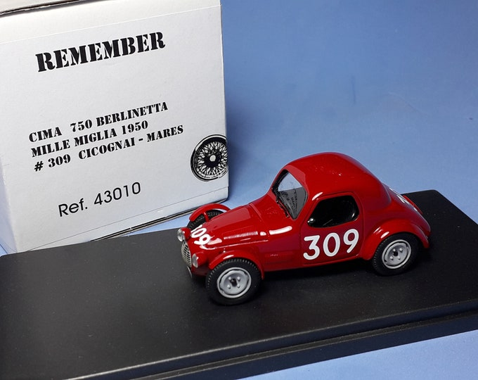 Fiat Ci.Ma. 750 Berlinetta Sport Mille Miglia 1950 #309 Cicognai/Mares REMEMBER Models 1:43 factory built