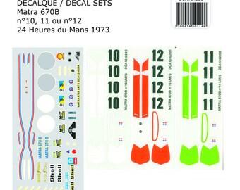 high quality 1:24 decals sheet Matra MS670B Le Mans 1973 #10-11-12 Le Mans Miniatures DCA124020