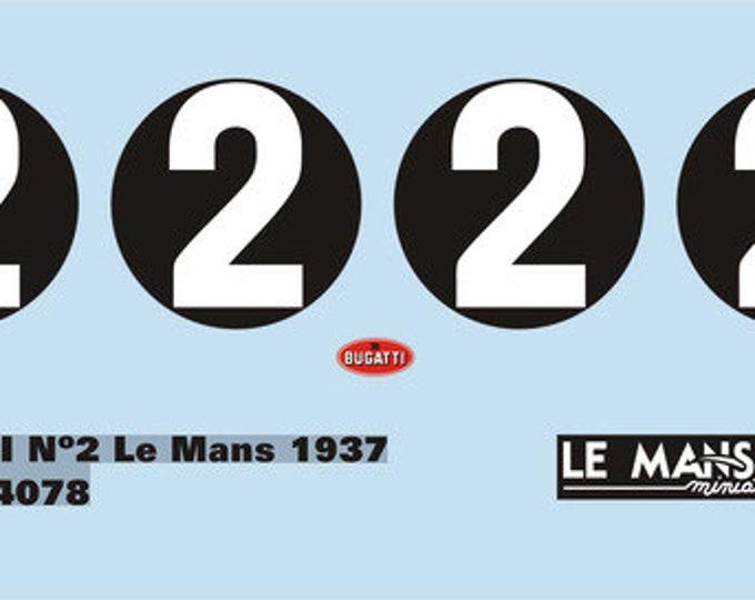 high quality 1:24 decals sheet Bugatti 57G Le Mans 1937 #2 Le Mans Miniatures DCA124078