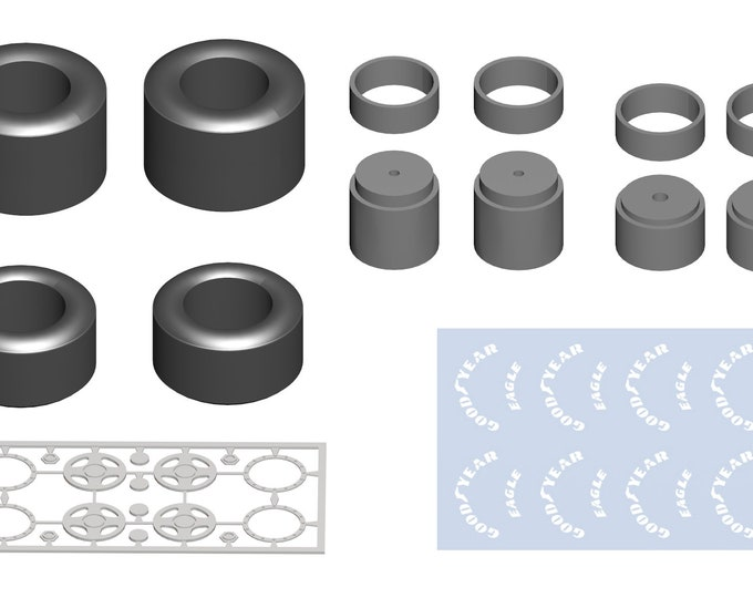 high definition 4-spokes  wheels set for modern Formula 1 cars with Goodyear decals Tameo PWT12 1:43