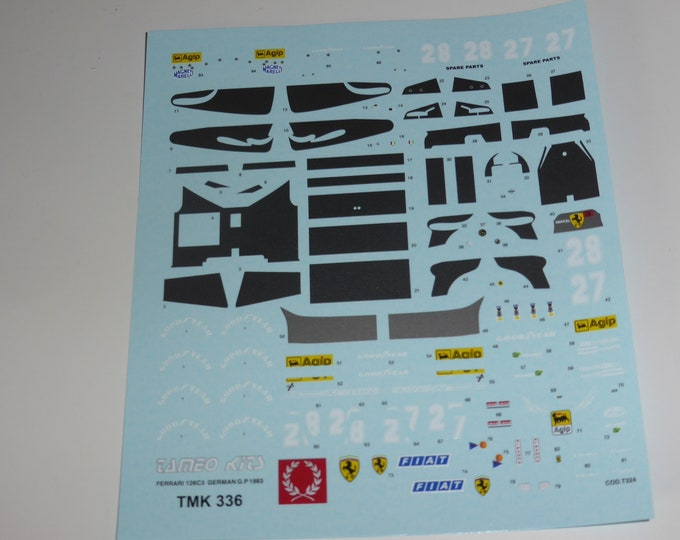 1:43 decals sheet for Ferrari 126 C3 Formula 1 German GP 1983 Arnoux/Tambay Tameo TMK336