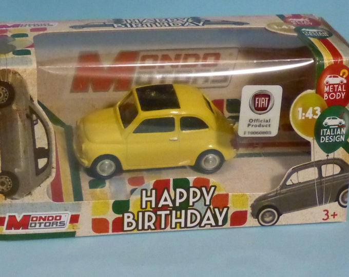 Fiat Nuova 500 60s yellow - Mondo Motors Happy Birthday range - Die cast model 1:43 - Brand new in box