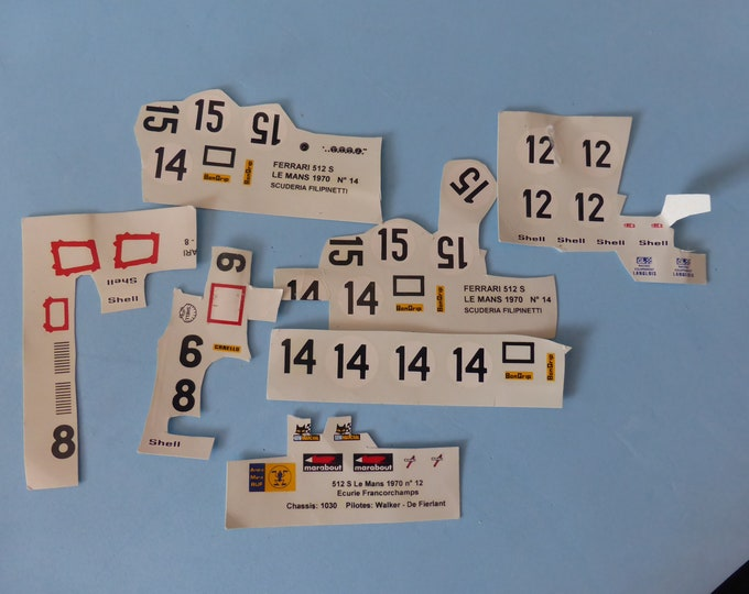 1:43 decals for AMR kit Ferrari 512 S Long tail Le Mans 1970 incomplete original sheets [d-amr512]