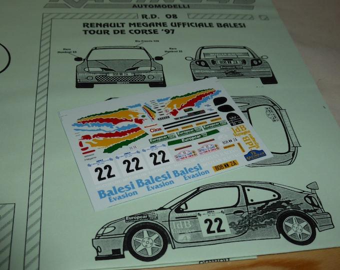 high quality 1:43 decals sheet for Renault Mégane Works car Tour de Corse 1997 #22 Balesi/Cirindini RACING43 RD08