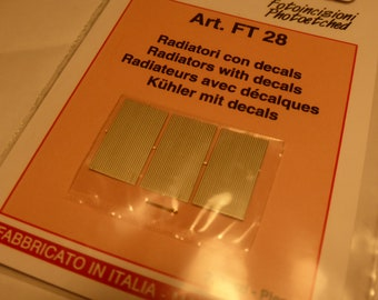photo etched 1:43 radiators (with decals) for Formula and other racing/road cars Tameo FT28