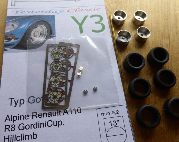 top quality wheel set for Alpine Renault A110, Renault 8 Gordini Cup, rally cars, hillclimbs, etc Sprint43 Y3 1:43