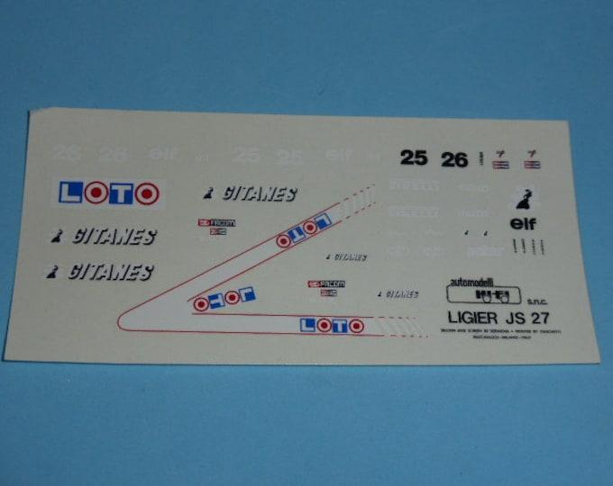 high quality 1:43 decals Ligier - Renault JS27 F.1 1986 René Arnoux or Jacques Laffite TK241