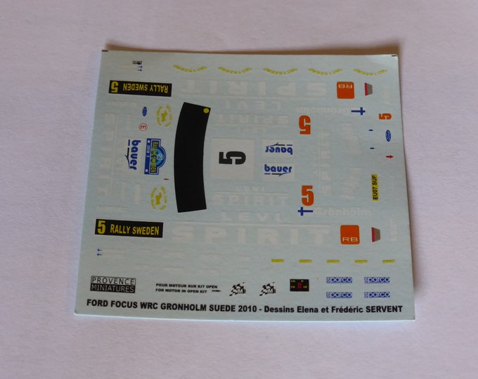 1:43 decals for Ford Focus WRC Levi Spirit Rally Sweden 2010 #5 Gronholm Provence Miniatures