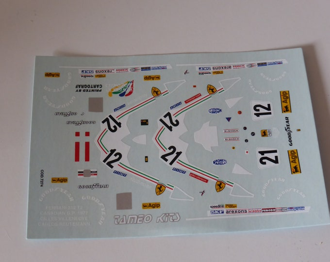 1:43 decals sheet for Ferrari 312 T2 Canadian GP 1977 Villeneuve/Reutemann Tameo T274