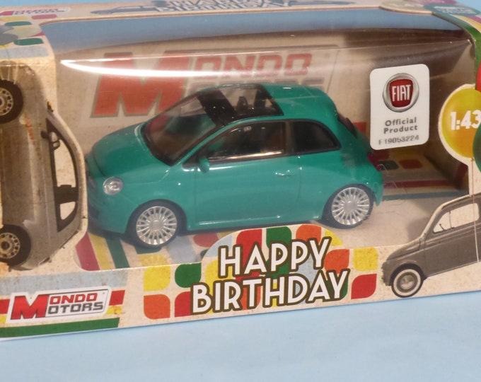 Fiat 500 Pop 2007 1.2 light green - Mondo Motors Happy Birthday range - Die cast model 1:43 - Brand new in box