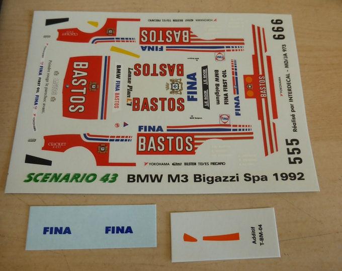 high quality 1:43 decals BMW M3 Bigazzi Bastos 24h Spa 1992 #5/6 Tin Wizard JA973
