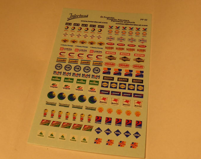high quality 1:43 decal sheet with old and new petrol scripts-logos Irving, Pennasol, Maxol, Yukos, Lundin, Pure etc Tin Wizard PP02-43