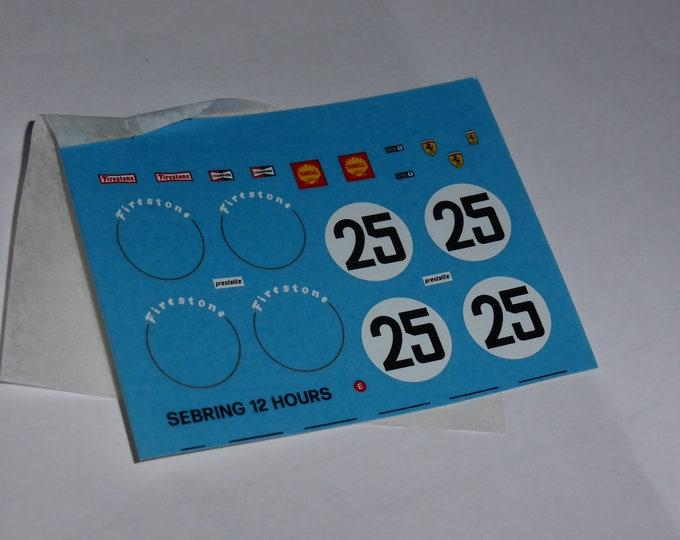 1:43 decals sheet for Ferrari 312 P Spyder 12 hours of Sebring 1969 #25 Andretti/Amon Tameo TMK86
