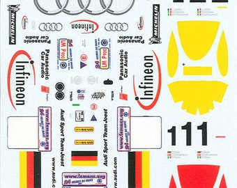 high quality 1:24 decals sheet Audi R8 works cars Le Mans 2001 #1/2 Le Mans Miniatures DCA124051
