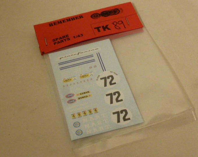 high quality decals Ferrari 512 BB NART Le Mans 1982 #72 1:43 Remember TK89