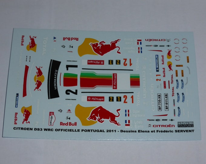 1:43 decals for Citroen DS3 WRC works car Rally Portugal 2011 #1/2 Loeb or Ogier Provence Miniatures